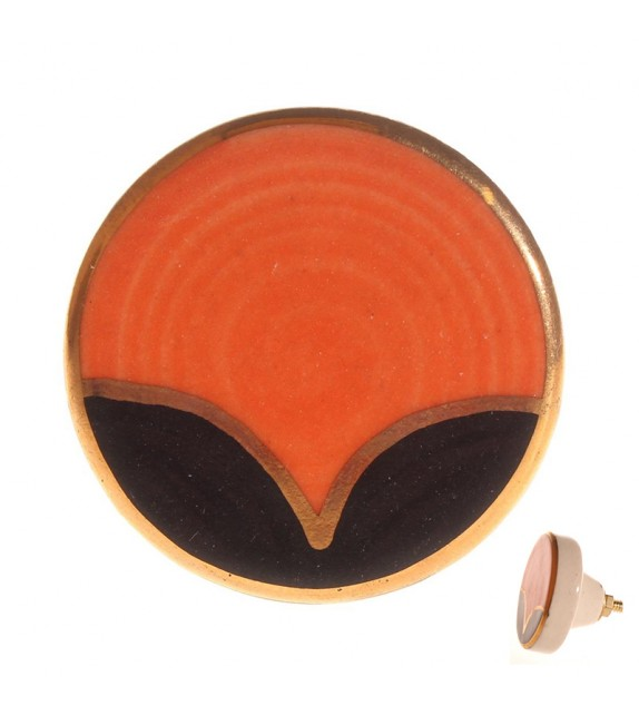 Bouton de meuble en porcelaine Panorama orange - Boutons Mandarine