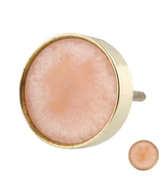Bouton de meuble doré et rosé rond métal et résine - Boutons Mandarine