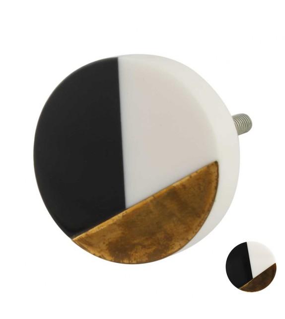 Bouton de meuble Graphique Vintage noir et blanc rond - Boutons Mandarine
