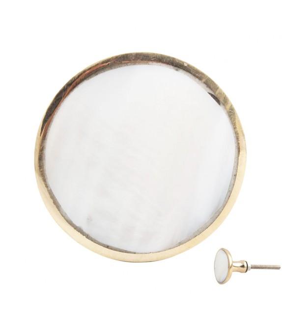 Bouton de meuble doré et reflet nacre rond - Boutons Mandarine
