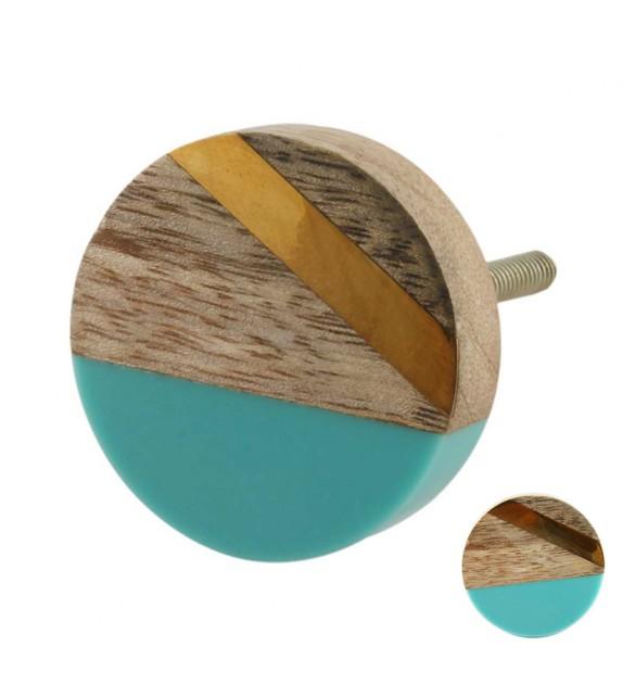 Bouton de meuble Graphique vintage doré et bleu bois - Boutons Mandarine