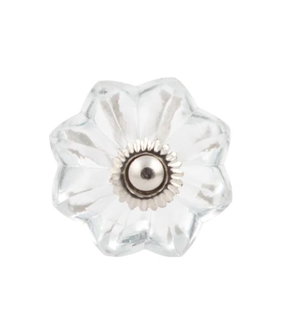 Petit bouton de meuble en verre fleur transparente - Boutons Mandarine
