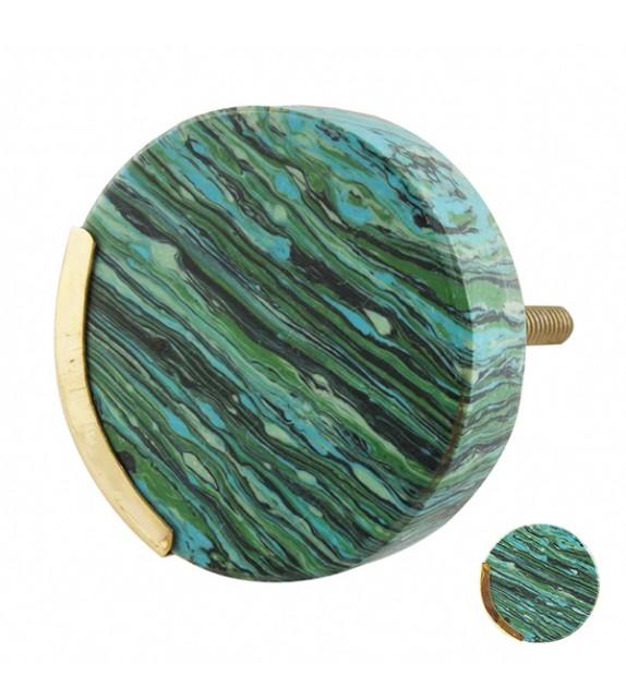 Bouton de meuble en pierre et laiton texture verte - Boutons Mandarine