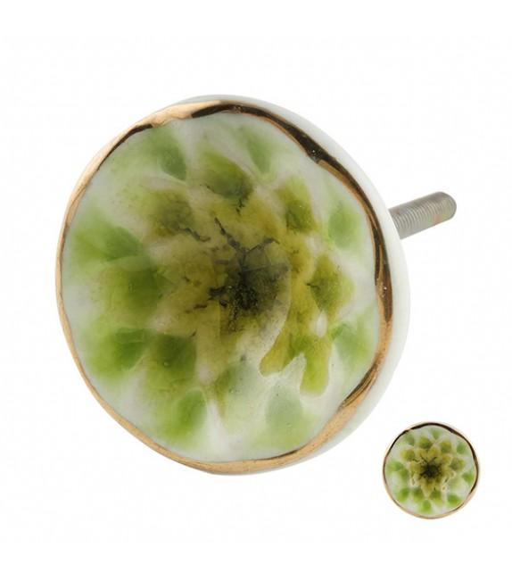 Bouton de meuble en porcelaine Fleur vert citron - Boutons Mandarine