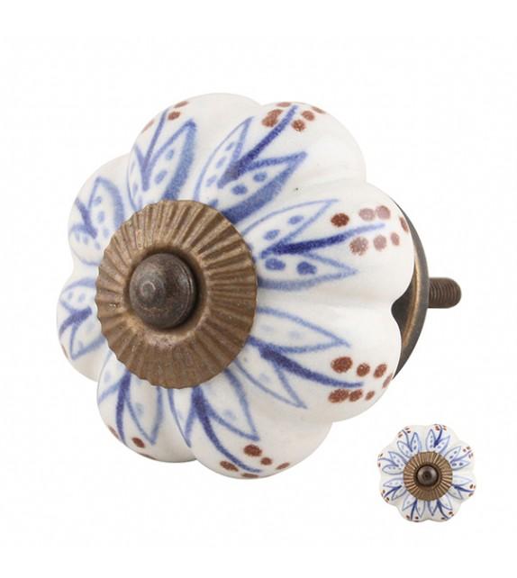 Bouton de meuble citrouille Lotus en porcelaine - Boutons Mandarine