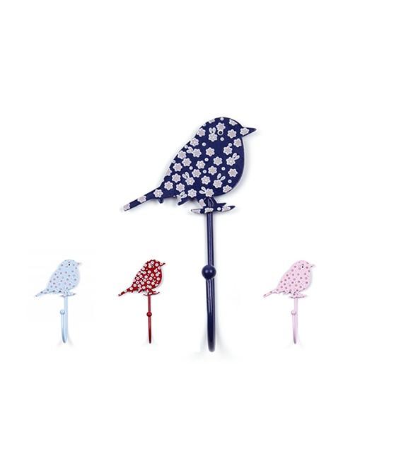 Patère murale forme Oiseau à fleurs - Boutons Mandarine