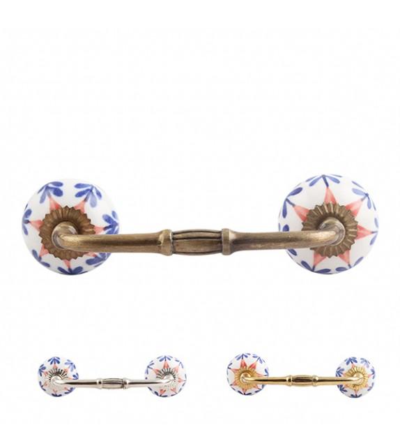 Poignée de meuble en porcelaine floral bleu marine et rouge Hybiscus - Boutons Mandarine