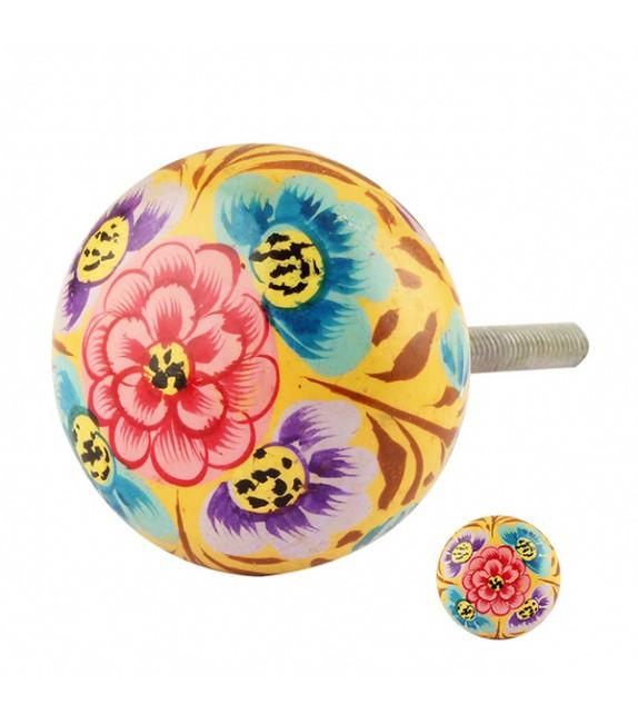 Bouton de meuble en bois floral exotique jaune - Zoé - Boutons Mandarine