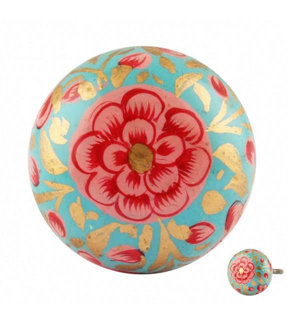 Bouton de meuble en bois floral exotique bleu -Zoé - Boutons Mandarine