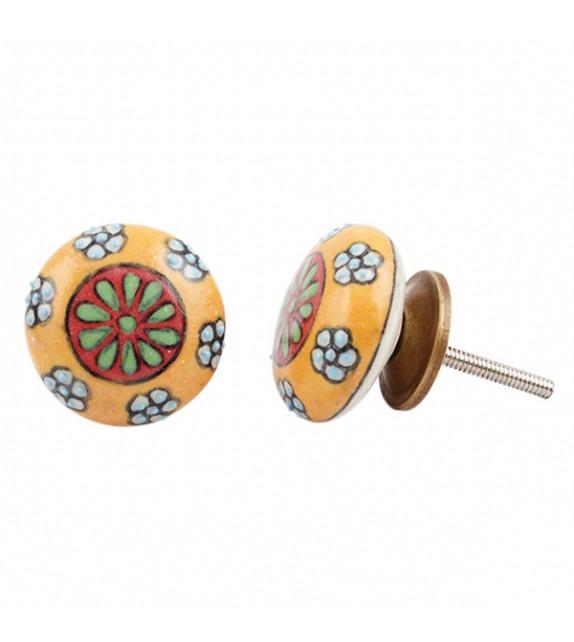 Bouton de meuble en porcelaine fleur jaune - Jade