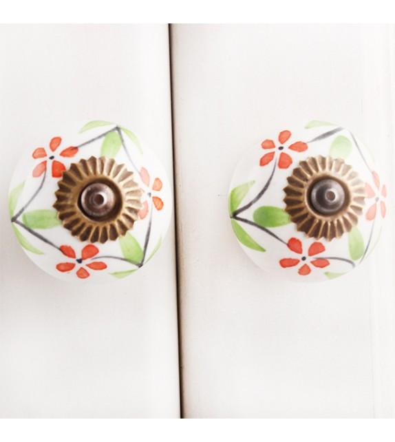 Bouton de meuble en porcelaine fleur orange - Lina - Boutons Mandarine