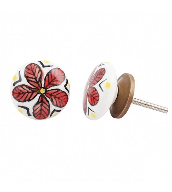 Bouton de meuble en porcelaine fleur rouge Chloé - Boutons Mandarine
