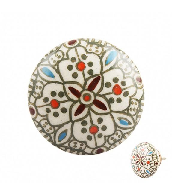 Gros bouton de meuble en porcelaine motif arabesque vert Sarah - Boutons Mandarine