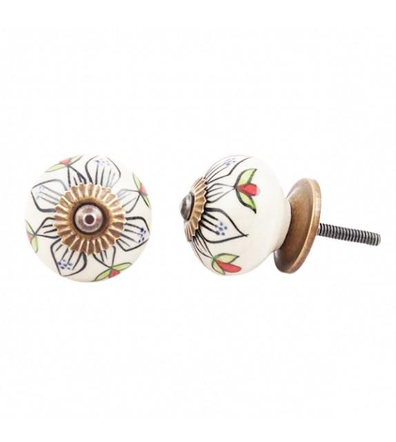 Bouton de meuble en porcelaine grande fleur noire pétales vertes Lea - Boutons Mandarine