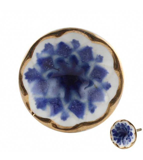 Bouton de meuble en porcelaine Fleur bleue marine Iris - Boutons Mandarine