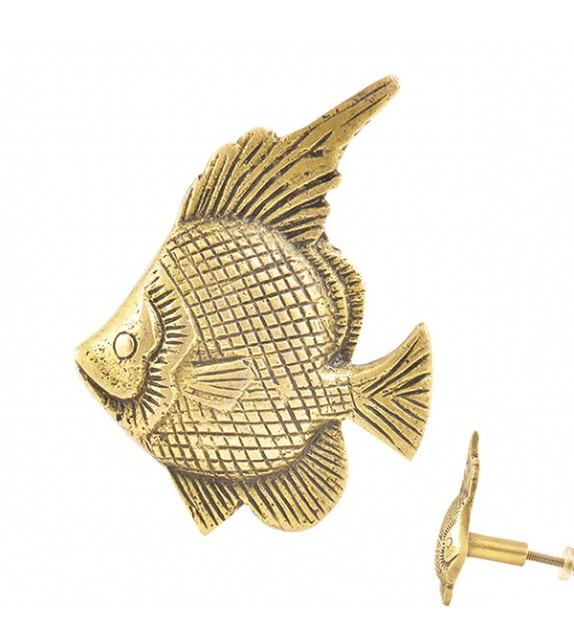 Bouton de meuble gros poisson doré en laiton - Boutons Mandarine