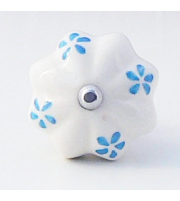 Bouton de porte Fany, céramique blanche et pétales bleues