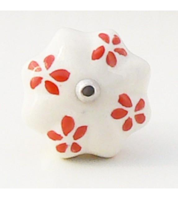 Bouton de porte Fany, céramique blanche et pétales rouges