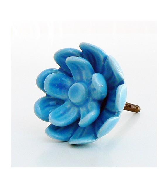 Bouton de porte Rose, fleur en céramique bleue turquoise - Boutons Mandarine
