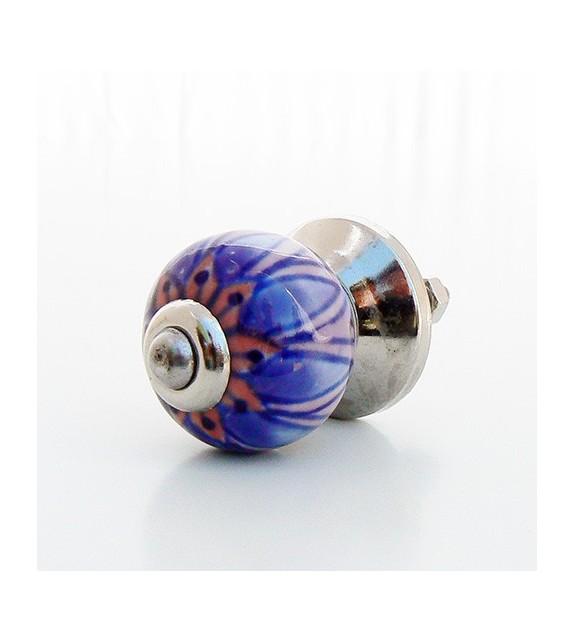 Bouton de porte Chloé, fleur violette en céramique - Boutons Mandarine
