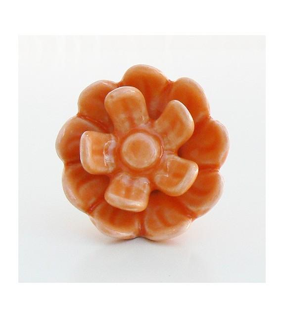 Bouton de meuble Rose, fleur en céramique - 6 couleurs disponibles - Boutons Mandarine