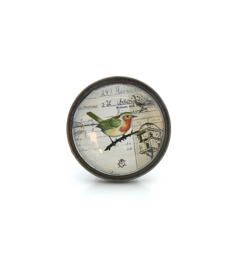 Bouton De Meuble Oiseau Vert Collection Vintage