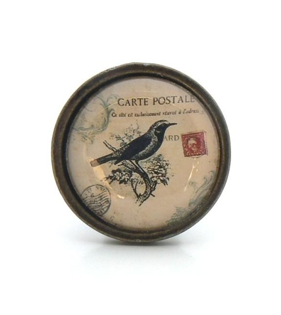 Bouton de meuble Oiseau noir - Collection Vintage